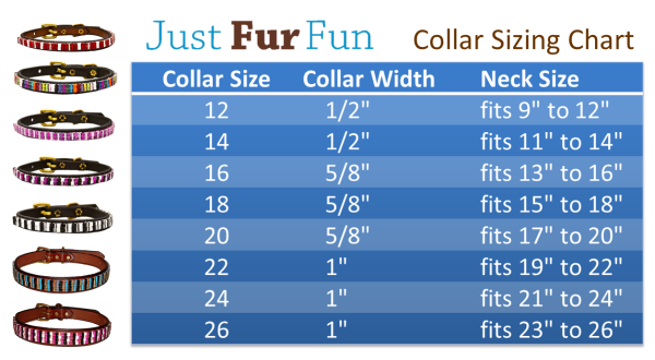 hand beaded pet collars sizing chart