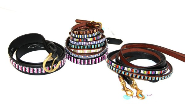 Unusual hand made beaded pet collars, leashes and matching human belts. beautiful.
