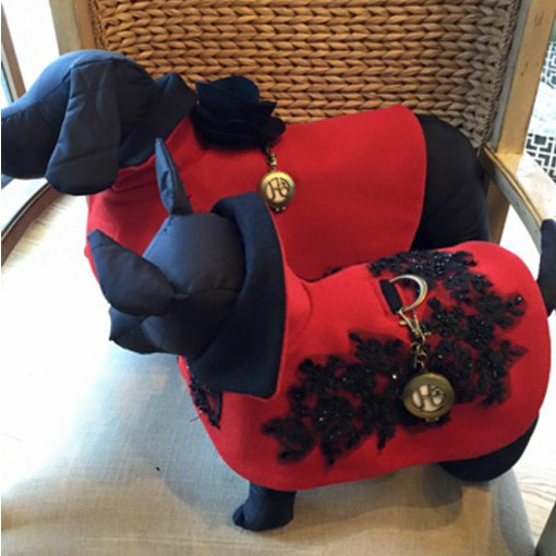 designer dog fashion; chic red cashmere and black belgium lace cape