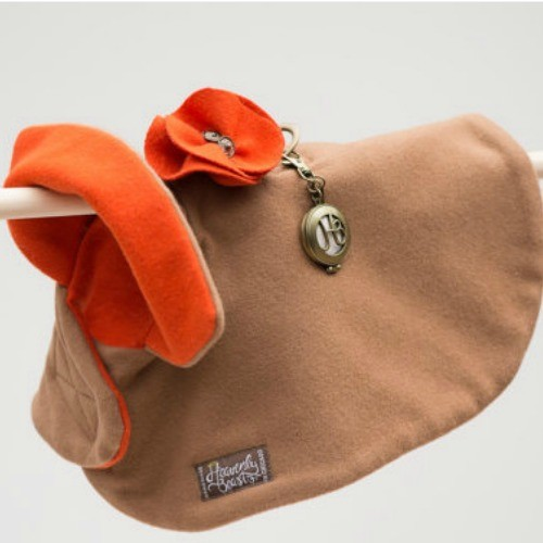 dog fashion. stylish camel and orange wool cape for dogs