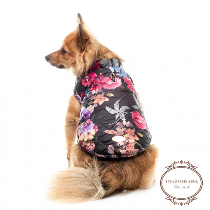 Floral designer quilted dog coat