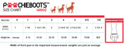 Fashionable dog boots with interchangeable straps-sizing chart