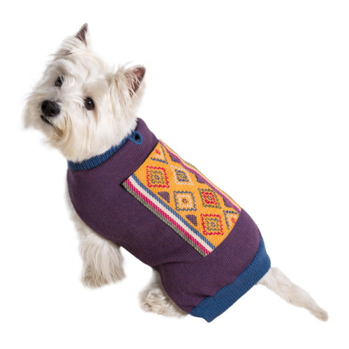 dog fashion. artisan wool dog sweater from Bhutan.