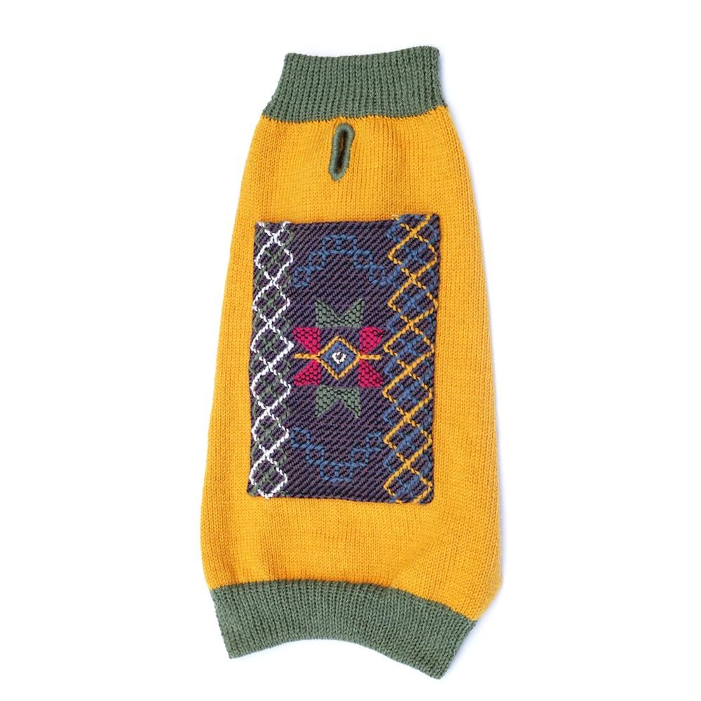 dog fashion. artisan wool dog sweater from Bhutan.