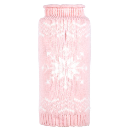 Dog fashion for fall: Snowflake icy pink sweater
