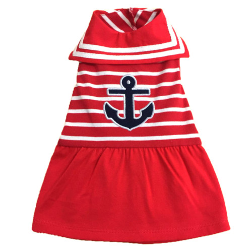 the latest spring fashion trends for your dog. Red striped anchor sailor dress.