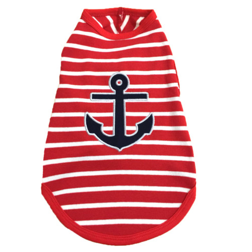 the latest spring fashion trends for your dog. Red striped anchor tee.