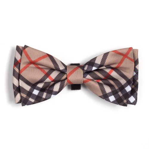 the latest spring fashion trends for your dog. Tan plaid bow tie.
