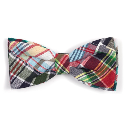 the latest spring fashion trends for your dog. Navy Madras bow tie.