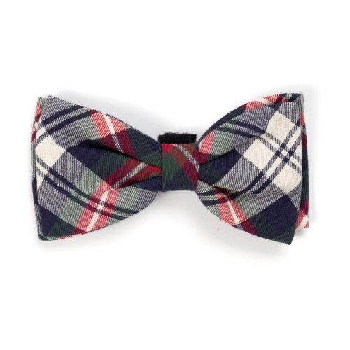 the latest spring fashion trends for your dog. Navy plaid bow tie.
