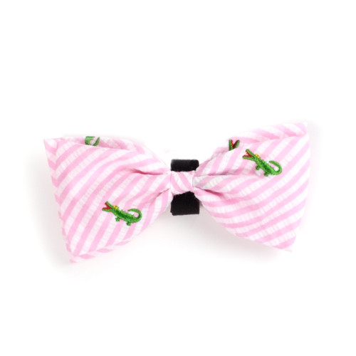 the latest spring fashion trends for your dog. Pink/white seersucker with alligators bow tie.