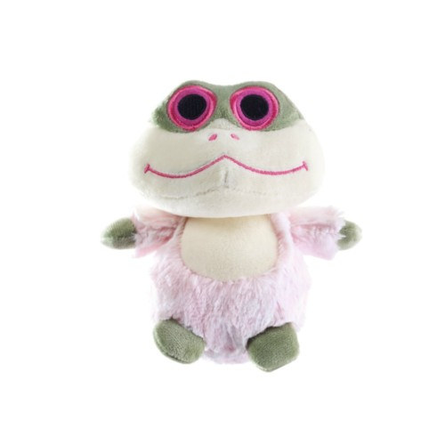 The squeakerless plush dog toy called The Dilley. A frog.