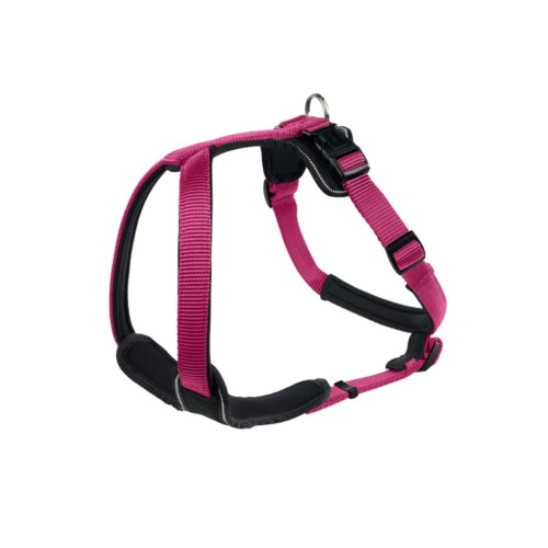 designer dog harness in neoprene and webbing for large and small dogs. Raspberry and Black.