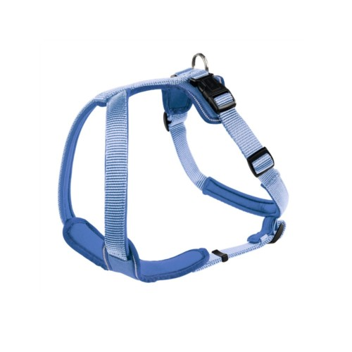 designer dog harness in neoprene and webbing for large and small dogs. Cornflower blue and light blue.