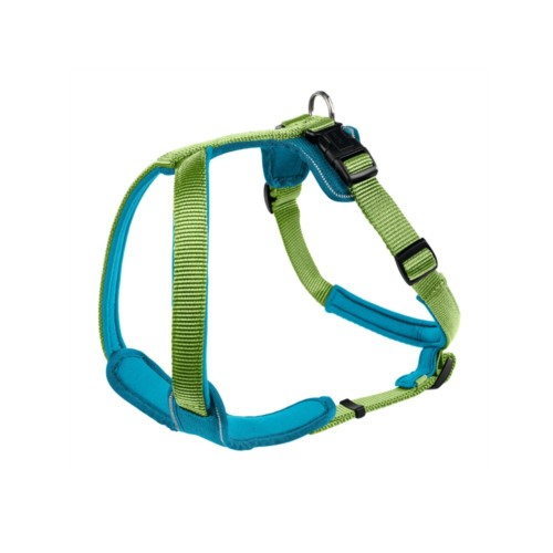 designer dog harness in neoprene and webbing for large and small dogs. Lime and turquoise.