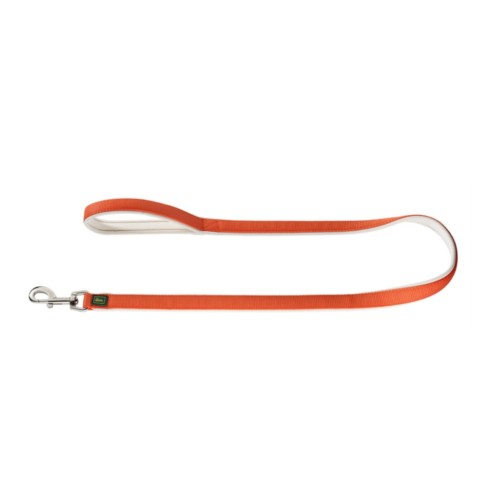 designer dog harness in neoprene and webbing for large and small dogs. Orange and white.
