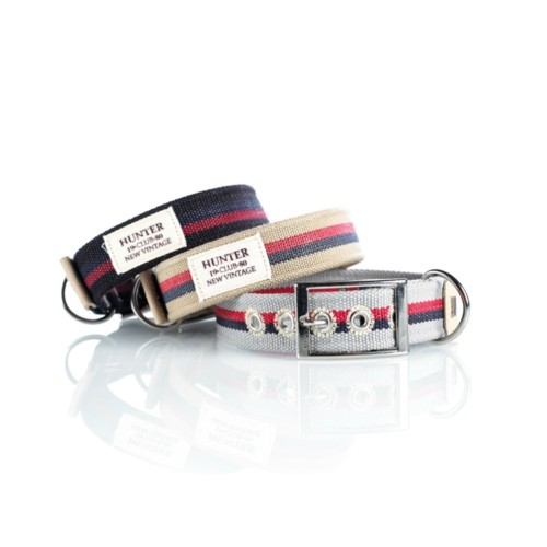 designer dog collars in striped canvas