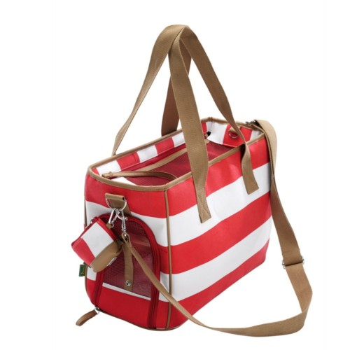 Designer dog bag in red/white stripe canvas; perfect for spring/summer.