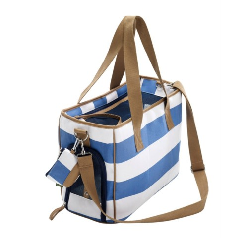 Designer dog bag in blue/white stripe canvas; perfect for spring/summer.